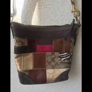 🍸 Coach patchwork shoulder bag brown